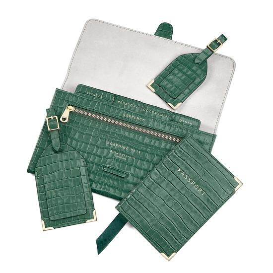Classic Travel Collection in Deep Shine Sage Small Croc from Aspinal of London
