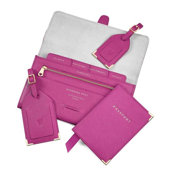 Classic Travel Collection in Orchid Saffiano from Aspinal of London