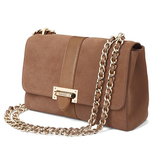 Large Lottie Bag in Camel Suede & Camel Lizard from Aspinal of London