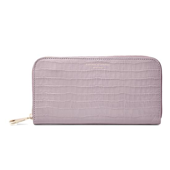 Continental Clutch Zip Wallet in Deep Shine Lilac Croc from Aspinal of London