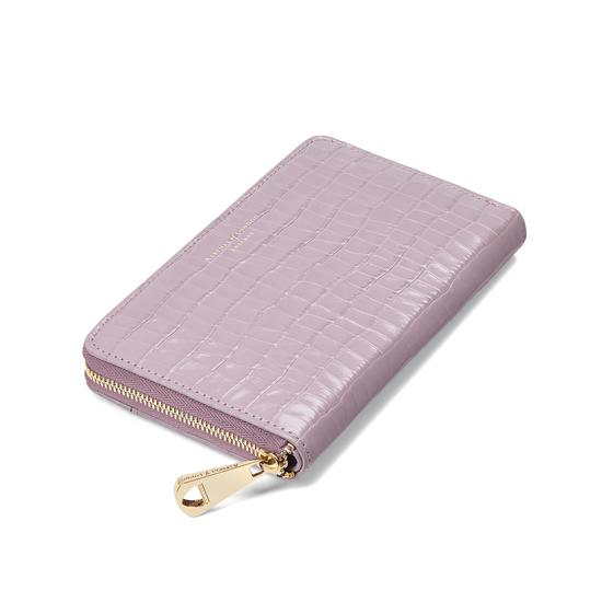 Midi Continental Clutch Zip Wallet in Deep Shine Lilac Small Croc from Aspinal of London