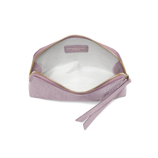 Small Essential Cosmetic Case in Deep Shine Lilac Small Croc from Aspinal of London