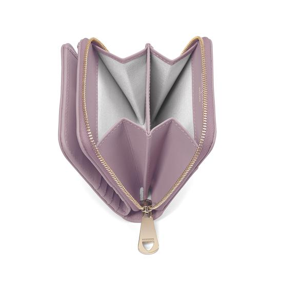 Marylebone Mini Purse in Deep Shine Lilac Small Croc & Smooth Lilac from Aspinal of London