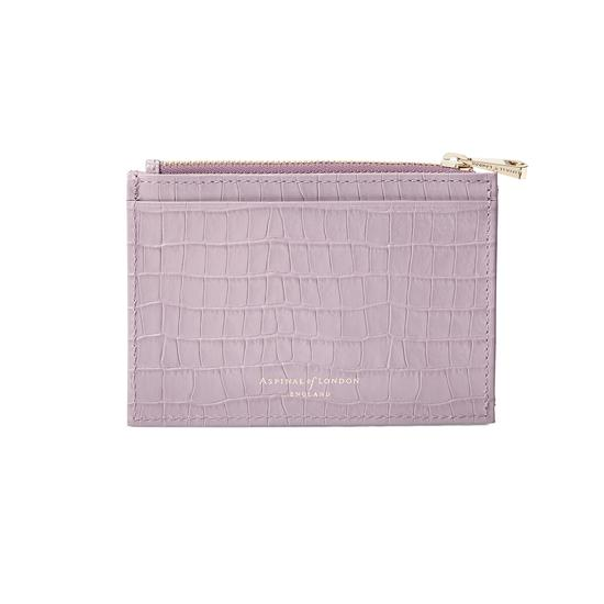 Double Sided Zipped Card & Coin Holder in Deep Shine Lilac Small Croc from Aspinal of London