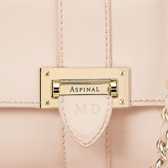Micro Lottie Bag in Deep Shine Nude Patent from Aspinal of London