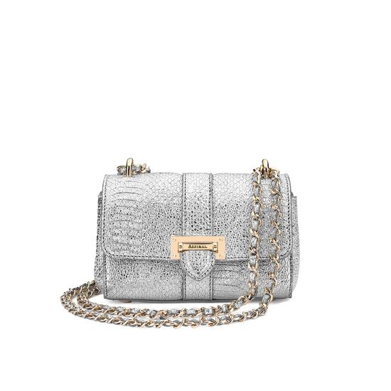 Micro Lottie Bag in Silver Python Print from Aspinal of London