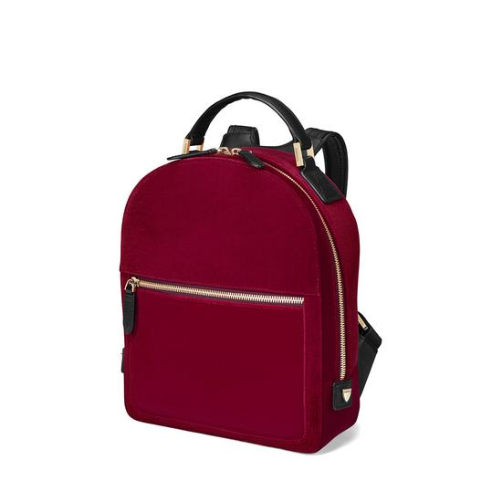 Small Mount Street Backpack in Cherry Velvet from Aspinal of London