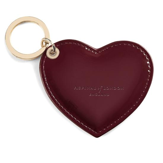 Heart Keyring in Deep Shine Cherry Patent from Aspinal of London