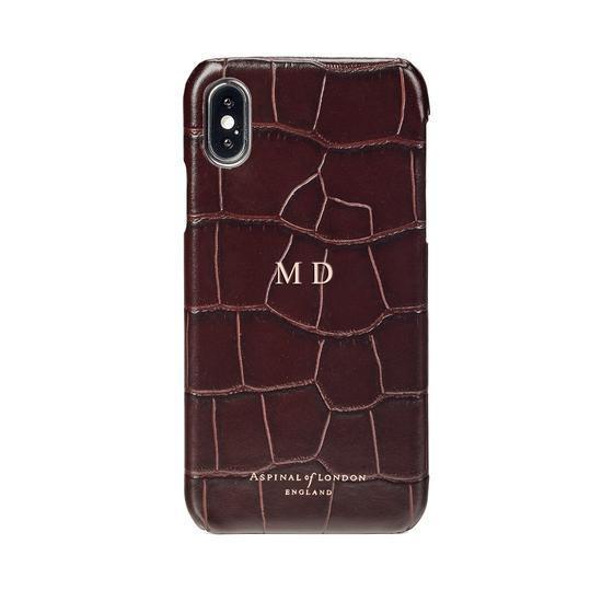 iPhone X Leather Cover in Deep Shine Amazon Brown Croc from Aspinal of London