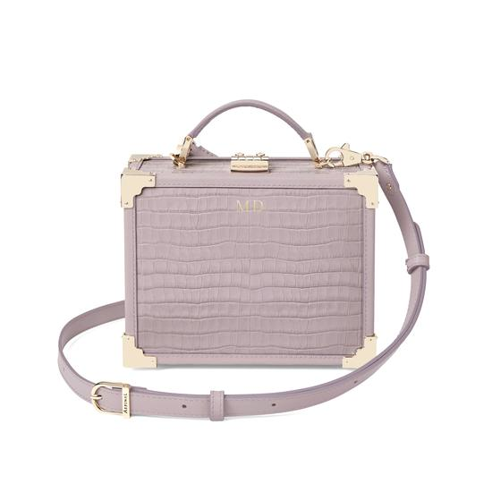 Mini Trunk Clutch in Deep Shine Lilac Small Croc from Aspinal of London