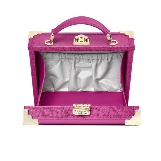 Mini Trunk Clutch in Orchid Saffiano from Aspinal of London