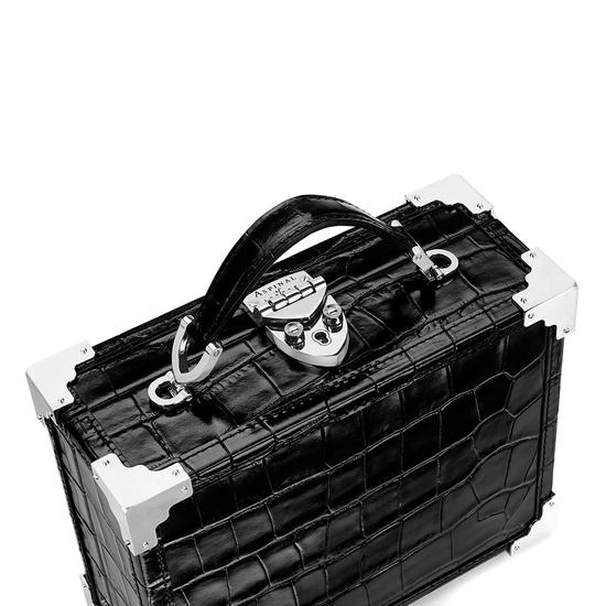 Mini Trunk Clutch in Deep Shine Black Croc with Silver Hardware from Aspinal of London