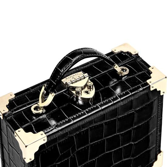 Mini Trunk Clutch in Deep Shine Black Croc with Zig Zag Strap from Aspinal of London