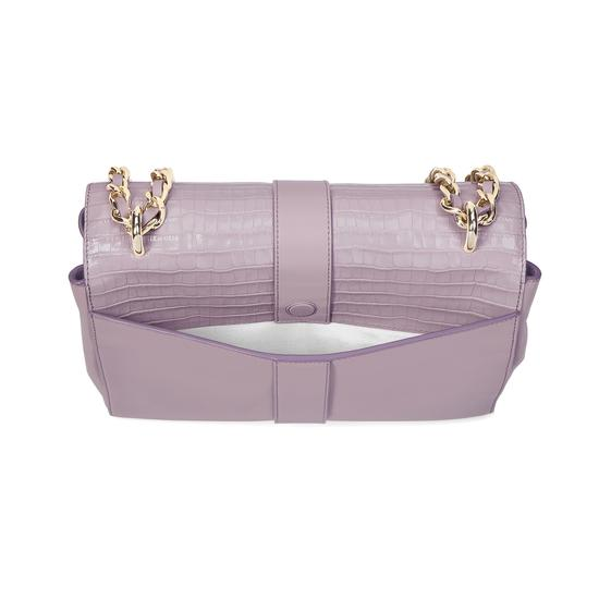 Large Lottie Bag in Deep Shine Lilac Small Croc from Aspinal of London