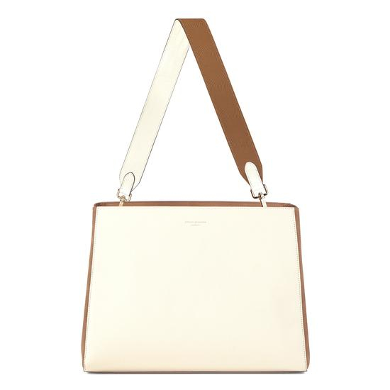 Large Ella Hobo in Ivory Pebble with Ivory & Camel Strap from Aspinal of London