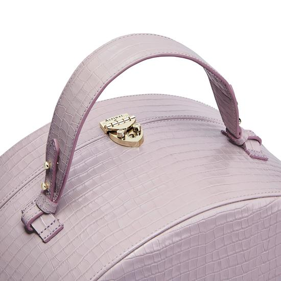 Large Hat Box in Deep Shine Lilac Small Croc from Aspinal of London