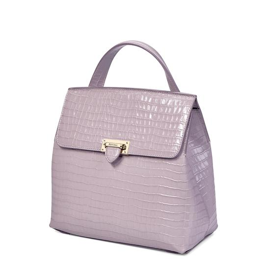 Soho Backpack in Deep Shine Lilac Small Croc from Aspinal of London