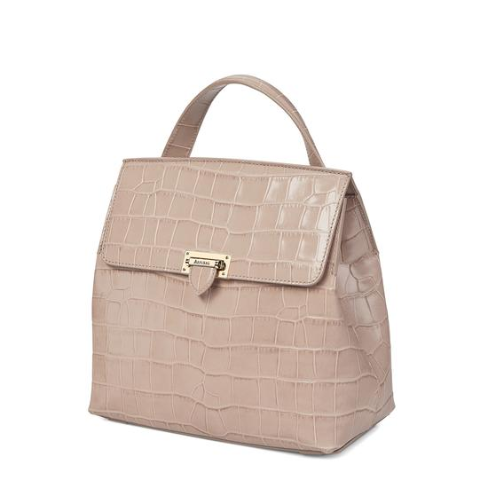 Soho Backpack in Deep Shine Soft Taupe Croc from Aspinal of London
