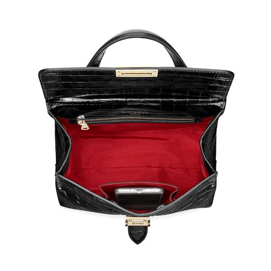 Soho Backpack in Deep Shine Black Croc from Aspinal of London