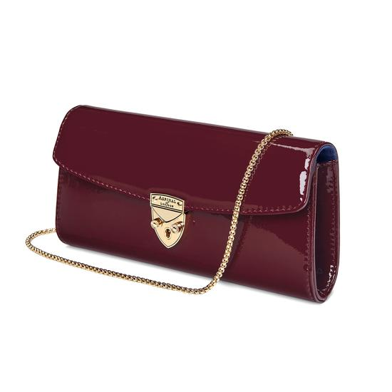 Mini Eaton Clutch in Deep Shine Cherry Patent from Aspinal of London