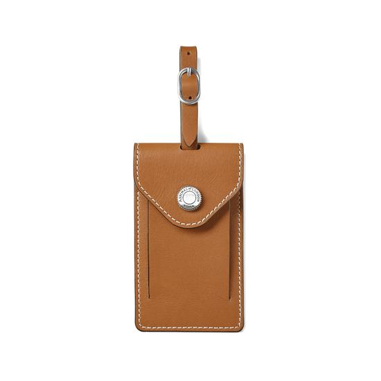 Aerodrome Luggage Tag in Smooth Tan from Aspinal of London
