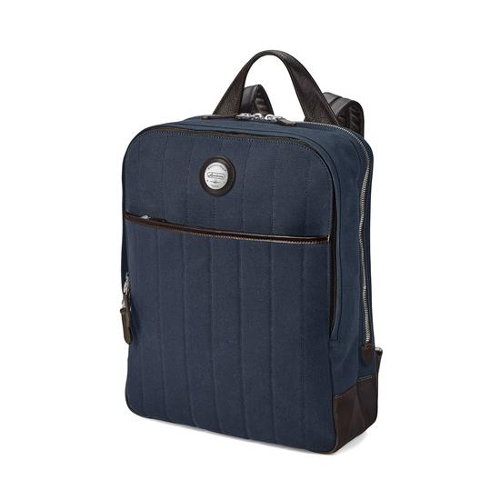 Aerodrome Backpack in Navy Canvas & Dark Brown Pebble from Aspinal of London