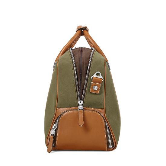 Aerodrome 48 Hour Mission Bag in Khaki Canvas & Smooth Tan from Aspinal of London