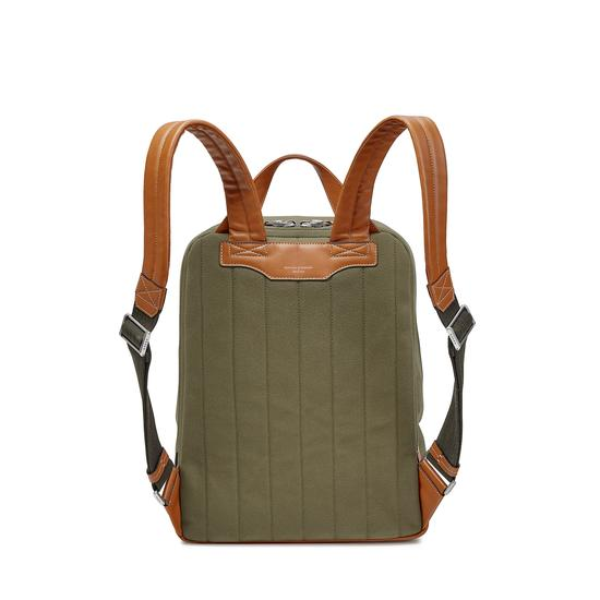 Aerodrome Backpack in Khaki Canvas & Smooth Tan from Aspinal of London