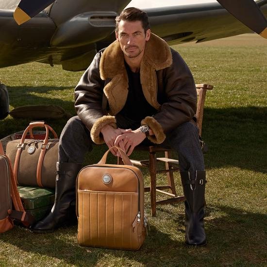 Aerodrome Backpack in Smooth Tan from Aspinal of London
