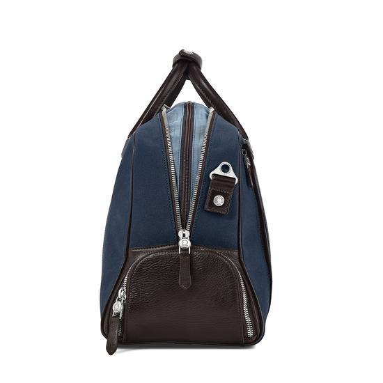 Aerodrome 48 Hour Mission Bag in Navy Canvas & Dark Brown Pebble from Aspinal of London