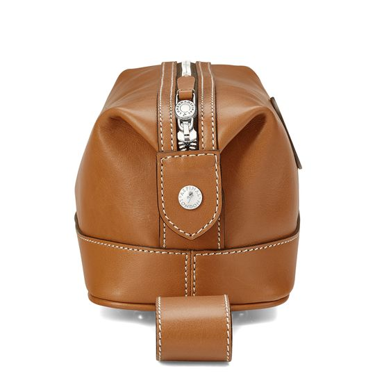 Aerodrome Zip Washbag in Smooth Tan from Aspinal of London