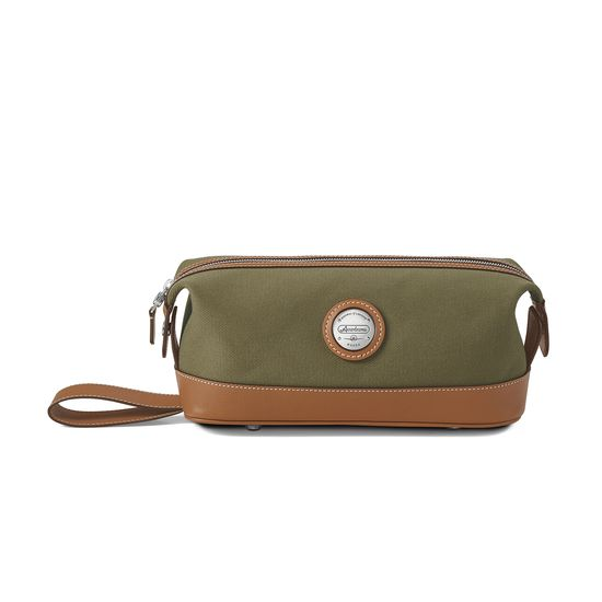 Aerodrome Zip Washbag in Khaki Canvas & Smooth Tan from Aspinal of London