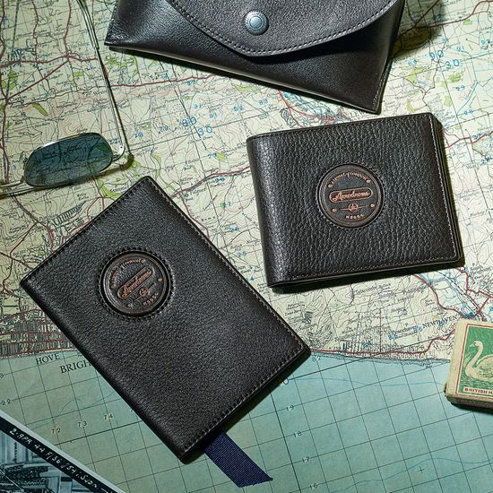 Aerodrome Passport Cover in Dark Brown Pebble from Aspinal of London