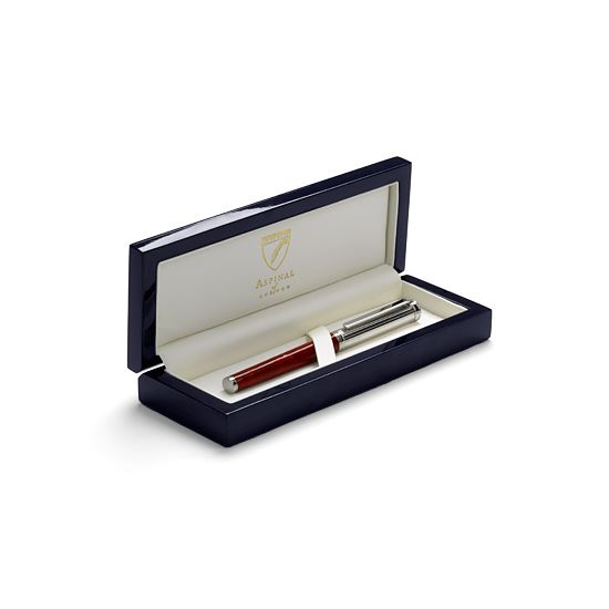 Sterling Silver & Leather Rollerball Pen in Raspberry Lizard from Aspinal of London