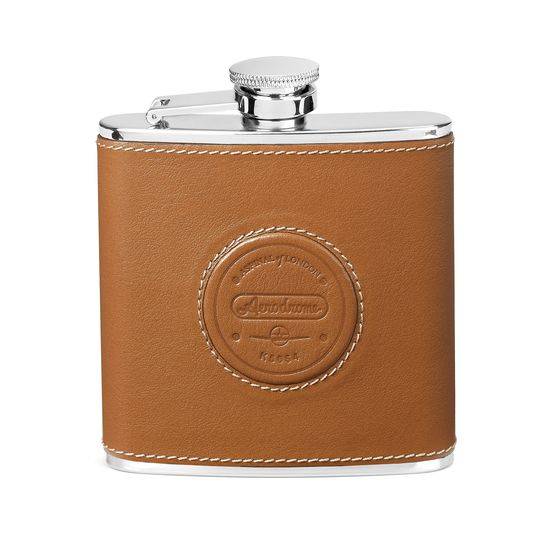 Aerodrome Classic 5oz Leather Hip Flask in Smooth Tan from Aspinal of London
