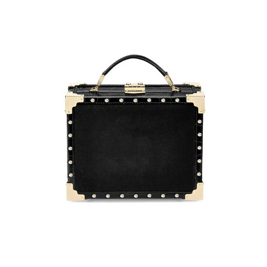 Lion Mini Trunk Clutch in Black Velvet & Deep Shine Croc with Studs from Aspinal of London