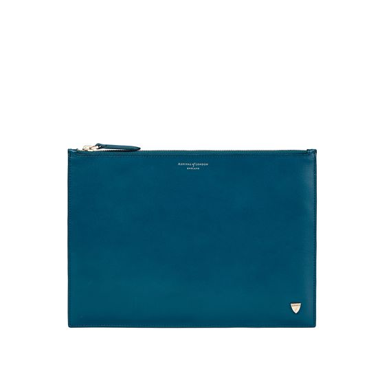 Mount Street Flat Pouch in Smooth Topaz from Aspinal of London