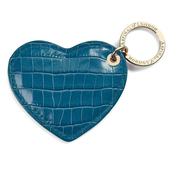 Heart Key Ring in Deep Shine Topaz Small Croc from Aspinal of London