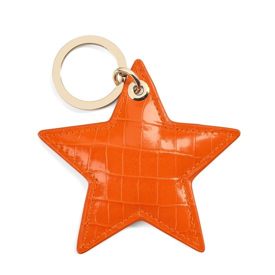 Star Keyring in Deep Shine Amber Small Croc from Aspinal of London