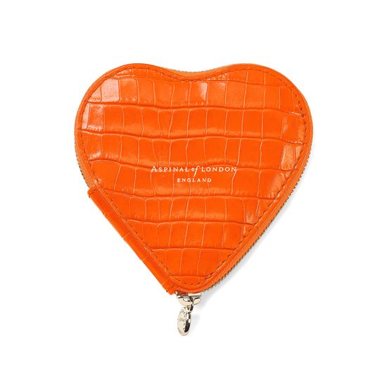 Heart Coin Purse in Deep Shine Amber Small Croc from Aspinal of London