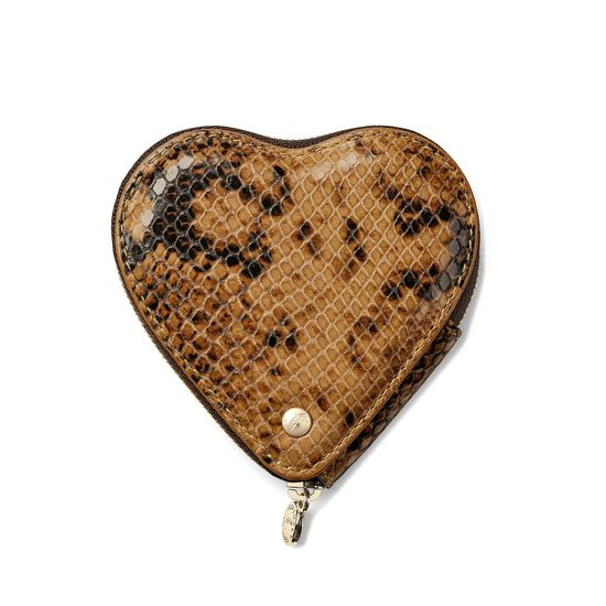 Heart Coin Purse in Mustard Python Print from Aspinal of London