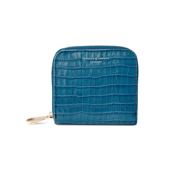 Mini Continental Zipped Coin Purse in Deep Shine Topaz Small Croc from Aspinal of London