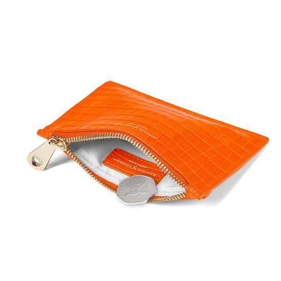 Small Essential Flat Pouch in Deep Shine Amber Small Croc from Aspinal of London