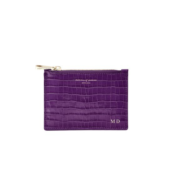 Small Essential Flat Pouch in Deep Shine Amethyst Small Croc from Aspinal of London
