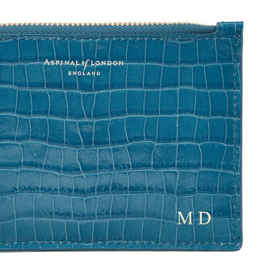 Small Essential Flat Pouch in Deep Shine Topaz Small Croc from Aspinal of London