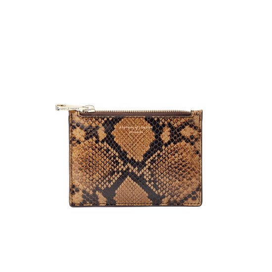 Small Essential Flat Pouch in Mustard Python Print from Aspinal of London