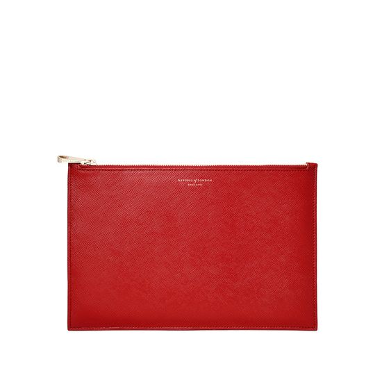 Large Essential Flat Pouch in Scarlet Saffiano from Aspinal of London
