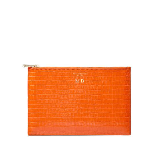 Large Essential Flat Pouch in Deep Shine Amber Small Croc from Aspinal of London