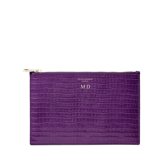 Large Essential Flat Pouch in Deep Shine Amethyst Small Croc from Aspinal of London