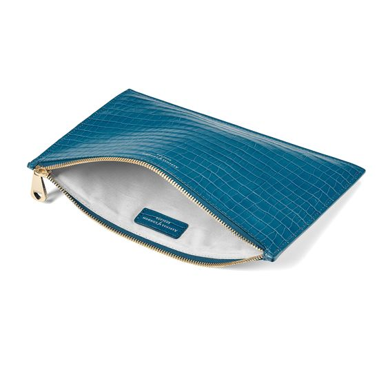 Large Essential Flat Pouch in Deep Shine Topaz Small Croc from Aspinal of London